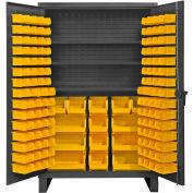 "Durham Bin Cabinet HDC48-134-3S95 - 12 Gauge With 134 Hook-On Bins & Shelves- 48""W x 24""D x 78""H"