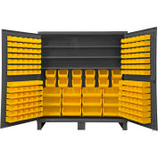 "Durham Bin Cabinet HDC72-192-3S95 - 12 Gauge With 192 Hook-On Bins & Shelves, 72""W x 24""D x 78""H"