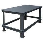 "Durham Mfg. Stationary Machine Table W/ Shelf, Steel Square Edge, 72""W x 36""D x 34""H, Gray"