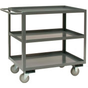 Durham Mfg® Rolling Service Stock Cart RSC-2448-3-95 3 Shelves 1200 Lb. Capacity 48 x 24