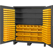 "Durham Jumbo Bin Cabinet SSC-722484-BDLP-212 - With 212 Hook-On-Bins 3 Shelves, 72""W x 24""D x 84""H"