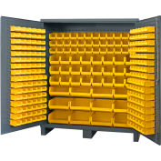 "Durham Jumbo Bin Cabinet SSC-722484-BDLP-264-95 - 264 Yellow Hook-On Bins, 72""W x 24""D x 84""H"