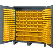 "Durham Jumbo Bin Cabinet SSC-722484-BDLP-264-95 - With 264 Hook-On Bins, 72""W x 24""D x 78""H"