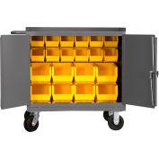 "Durham 3100-BLP-20-95 36""W x 24""D Mobile Bench Cabinet - 20 Bins, Gray"