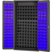 Durham Small Parts Storage Cabinet 3501-DLP-72/40B-96-5295 - w/112 Steel Compartments, 96 Blue Bins