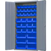 """Durham Storage Bin Cabinet 3602-BLP-36-5295 - 36 Blue Hook-On Bins 36""""W x 18""""D x 72""""H"""