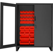 "Durham Access Control Bin Cabinet with Electronic Lock 3704CXC-54B-1795, 54 Red Bins 60""Wx24""Dx78""H"