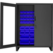 "Durham Access Control Bin Cabinet with Electronic Lock 3704CXC-54B-5295, 54 Blue Bins 60""Wx24""Dx78""H"