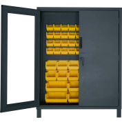 "Durham Access Control Bin Cabinet with Electronic Lock 3704CXC-54B-95, 54 Yellow Bins 60""Wx24""Dx78""H"