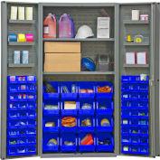 "Durham Storage Bin Cabinet DC36-642S6DS-5295 - 64 Blue Hook-On Bins 2 Adj. Shelves 36""Wx24""Dx72""H"
