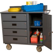 "Durham 2211-95 36""W x 21""D Mobile Bench Cabinet - 4 Drawers, 1 Compartment, Gray"