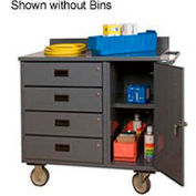 "Durham 2211-DLP-RM-10B-95 36""W x 21""D Mobile Bench Cabinet - 4 Drawers, 1 Compartment, 10 Bins, Gray"