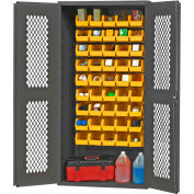 "Durham Expanded Metal Door Bin Cabinet EMDC361845B95 - 45 Bins 36""W x 18""D x 72""H"