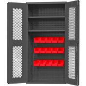 "Durham Expanded Metal Door Bin Cabinet EMDC36242S15B1795 - 15 Red Bins 36""W x 24""D x 72""H"