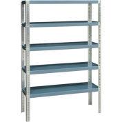 "Durham HDS-244872-95 Extra Heavy Duty/Open Shelving 48"" x 24"" x 72"", 5 Shelf, Gray"