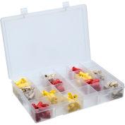 Durham Large Plastic Compartment Box LPADJ-CLEAR - Adjustable with 20 Dividers, 13-1/8x9x2-5/16 - Pkg Qty 5