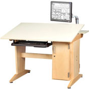 Drafting/Drawing Table w/ Vertical Tower Storage, Stationary Keyboard Tray, Flat Panel Monitor Arm