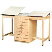 "Drafting Table 70""L x 32-1/2""W - 2 Station w/ 8 Drawers"