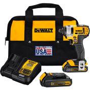 "DeWALT Impact Driver Kit, DCF885C2, 1/4"" Hex Drive, 20VMAX*, 2800 RPM, 117 ft-lbs"