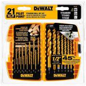 DeWALT® Pilot Point® Titanium Drill Bit Set, DW1361, 21 Piece Set - Pkg Qty 5