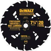 "DeWALT Carbide Pressure Treated/Wet Lumber Circular Saw Blade, DW3174, 5/8"" Arbor, 7-1/4"" Dia, 20TPI - Pkg Qty 5"