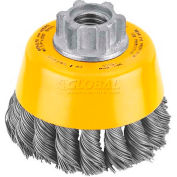 "DeWalt DW4910 HP Wire Cup Brush 3"" x 5/8-11"" .020"" Carbon Knotted Wire  Carbon Steel - Pkg Qty 5"