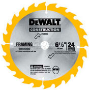 "DeWALT® Carbide Blade (Framing), DW9154, 5/8"" Arbor, 6-1/2"" Diameter, 24 TPI"