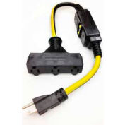 Direct Wire 12/3 GFCI Tripple Tap 2' Extension Cord, SJTW