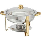 Winco 203 Round Chafer, 4 Qt., Gold Accented