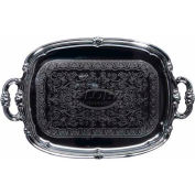 "Winco CMT-1912 Rectangular Serving Tray with Handles, 19""L, Chrome, Gadroon Edge W/ Engraving - Pkg Qty 12"