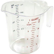Winco PMCP-100 Measuring Cup W/ Red & Blue Markings, 1 Qt, Clear, Plastic - Pkg Qty 6