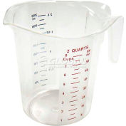 Winco PMCP-200 Measuring Cup W/ Red & Blue Markings, 2 Qt, Clear, Plastic - Pkg Qty 6