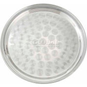 "Winco STRS-14 Round Tray, Swirl Pattern, 14""D, Stainless Steel, Mirror Finish - Pkg Qty 12"