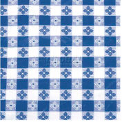 "Winco TBCO-90B Checkered Table Cloth , 90""L, 52""W, PVC W/ Flannel Backing, Blue & White - Pkg Qty 24"