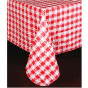 "Winco TBCS-52G Checkered Table Cloth , 52""L, 52""W, PVC W/ Flannel Backing, Square, Green & White - Pkg Qty 24"