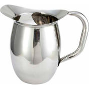 Winco WPB-2C Deluxe Bell Pitcher W/ Ice Catcher, 2 Qt, Stainless Steel - Pkg Qty 3