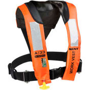Kent 153200-200-004-13 A-33 In-Sight Automatic Inflatable Work Vest, Orange, Adult/Universal
