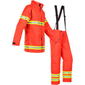 Mullion 1MI9XXL Professional Fire Fighter Suit, SOLAS/MED, Orange, XXL