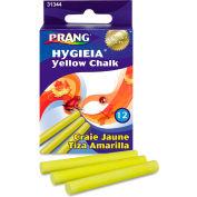 """Dixon® Hygieia Dustless Board Chalk, 3-1/4"""" x 3/8"""", Yellow, 12/Box"""