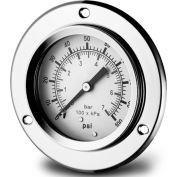 """Dynamic 2 1/2 """" Fluid Glycerine Filled Pressure Gage Panel Flange 15 PSI"""