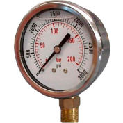 "Dynamic 2 1/2 "" Fluid Glycerine Filled Pressure Gage Stem 300 PSI"