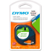 """DYMO® LetraTag Paper Label Tape Cassette, 1/2"""" x 13ft, White, 2/Pack"""