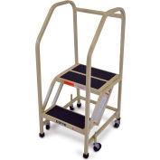"EGA Steel Office Ladder 2-Step, 16"" Wide Vinyl Covered W/ Handrail, Almond, 450 lb. Cap. - F003"