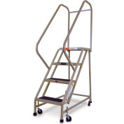 "EGA Steel Office Ladder 4-Step, 16"" Wide Vinyl Covered W/ Handrail, Almond, 450 lb. Cap. - F007"