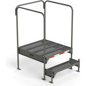 "EGA Steel Custom Work Platform, 36"" W x 39"" D, 2-Step, Gray, 3 Handrails, 500 lb. Cap. - CW2-21-2-3"