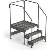 "EGA Steel Custom Work Platform, 36"" W x 39"" D x 27"" H, 3-Step, W/ Handrails, Gray - CW5-27-3-3"
