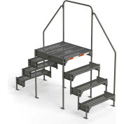 "EGA Steel Custom Work Platform, 36"" W x 39"" D, 4-Step, Dual Access, Gray, 500 lb. Cap. - CW6-45-4-3"