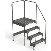 "EGA Steel Custom Work Platform, 36"" W x 39"" D x 45"" H, 4-Step, 2 Handrails, Gray - CW7-45-4-3"