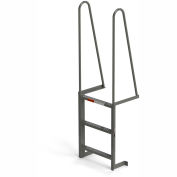EGA Steel Walk Through Dock Ladder, 3 Step Gray - MDT3