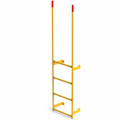 EGA Steel Round Tube Dock Ladder, 4 Step Yellow - MRT-DT4